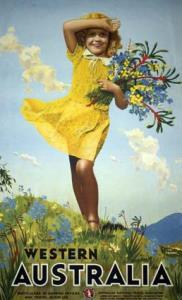 Western Australia, Travel poster - Girl with flowers [Designer Percy Trompf][Wildflower Girl][COPY Transparency][Original located in M948/18, Item 42]