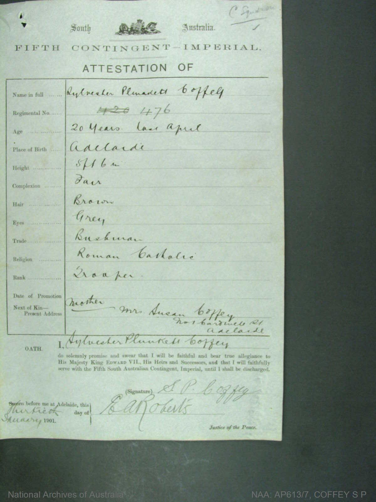 Coffey, Sylvester Plunkett regimental number 476 South Australia fifth contingent imperial -  attestation of