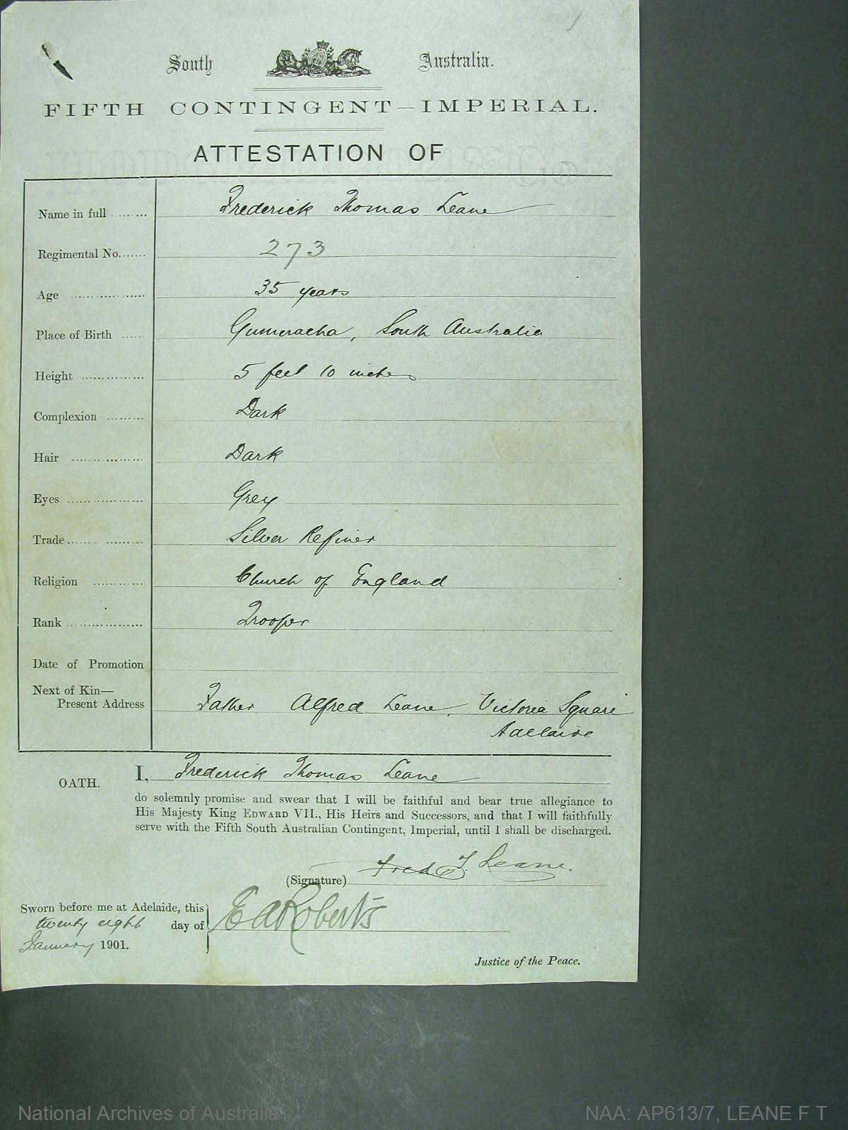 Leane, Fredrick Thomas regimental number 273 South Australia fifth contingent imperial - attestation of