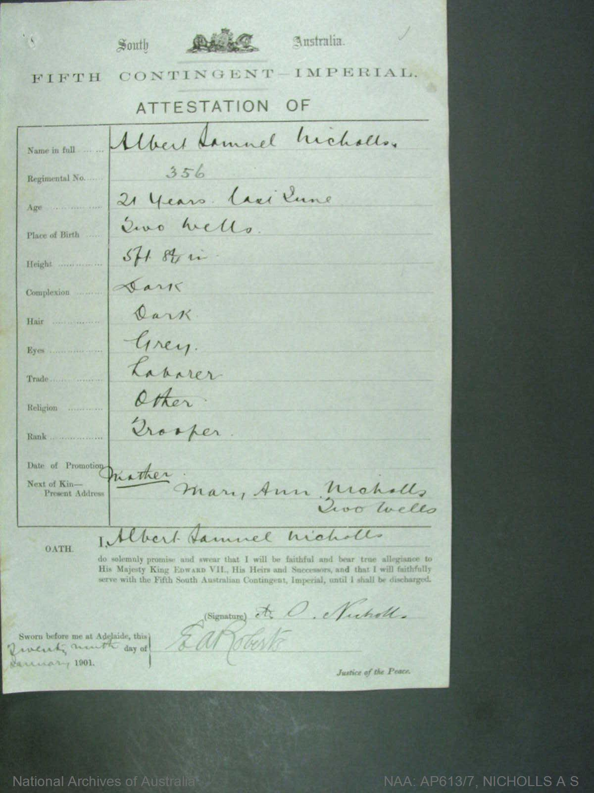 Nicholls, Albert Samuel regimental number 356 South Australia fifth contingent imperial - attestion of