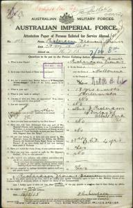 RICHARDSON Francis Brewer : Service Number - 1767 : Place of Birth - Melbourne VIC : Place of Enlistment - Melbourne VIC : Next of Kin - (Mother) RICHARDSON J