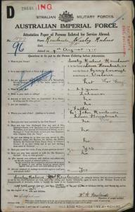 ROWLANDS Wesley Richard : Service Number - 1877 3941 : Place of Birth - Maryborough VIC : Place of Enlistment - Broadmeadows VIC : Next of Kin - (Father) ROWLANDS John