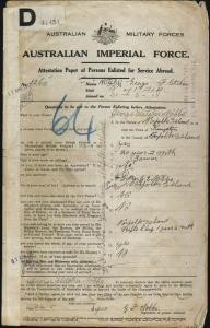 NOBBS George Fletcher : Service Number - 1260 : Place of Birth - Norfolk Island NSW : Place of Enlistment - Liverpool NSW : Next of Kin - (Father) NOBBS George Edward