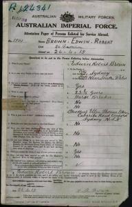 Brown Edwin Robert : SERN 1501 : POB Sydney NSW : POE Townsville QLD : NOK M Brown Ellen Thomas