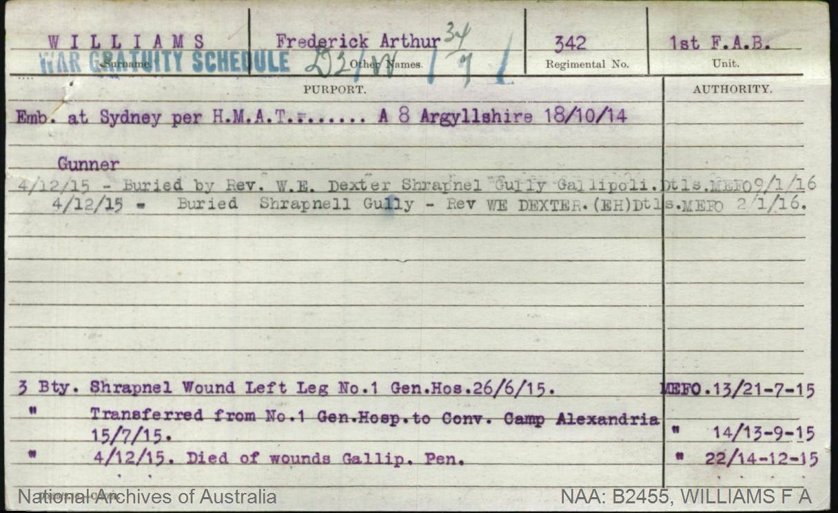 Williams Frederick Arthur : SERN 342 : POB N/A : POE N/A : NOK Williams E