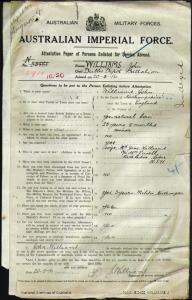 Williams John : SERN 5911 : POB Northampshire England : POE Dubbo NSW : NOK W Williams Jane