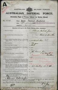 Jones Edward Richard : SERN 3234 : POB Island of Mauritius : POE Melbourne VIC : NOK Jones John Edward