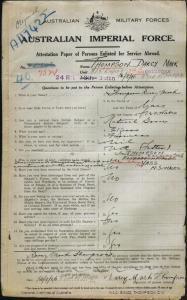 Thompson Darcy Mark : SERN 7324 : POB Yass NSW : POE Goulburn NSW : NOK F Thompson James Edward