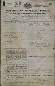 Miller Stewart Samuel : SERN 4166 : POB Quorn SA : POE Adelaide SA : NOK F Miller George
