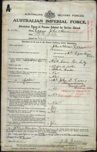 Evans John Adrian : SERN 3736 : POB Mount Egerton VIC : POE Melbourne VIC : NOK F Evans John D