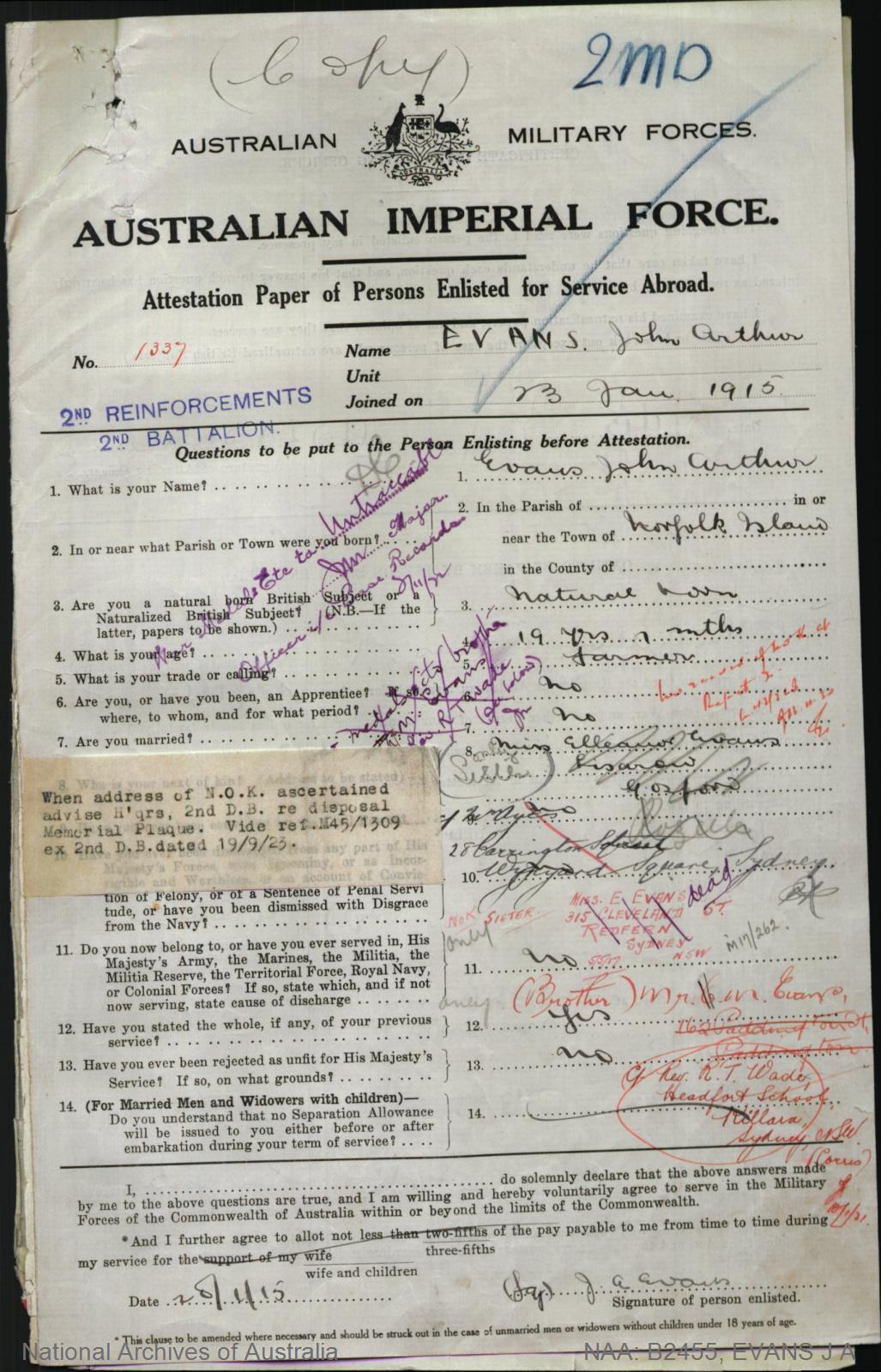 Evans John Arthur : SERN 1337 : POB Norfolk Island : POE Liverpool NSW : NOK S Evans Elleanor