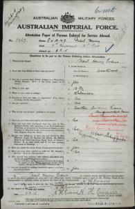 Evans Neil Henry : SERN 3467 : POB Westwood QLD : POE Claremont TAS : NOK F Evans Andrew