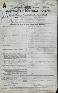 Watson Darcy Myers : SERN 215 : POB Beaudesert QLD : POE Enoggera QLD : NOK F Watson Octavius Myers