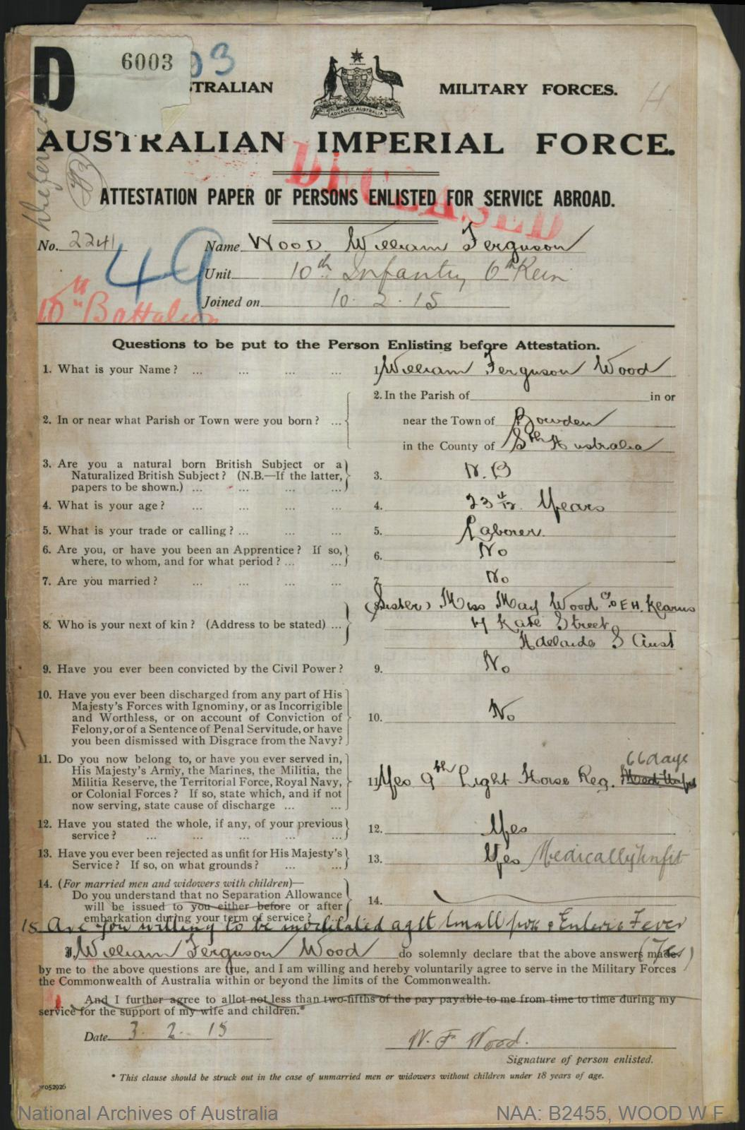 Wood William Ferguson : SERN DEPOT 358 2241 : POB Adelaide SA : POE Morphettville SA : NOK Wood Frank