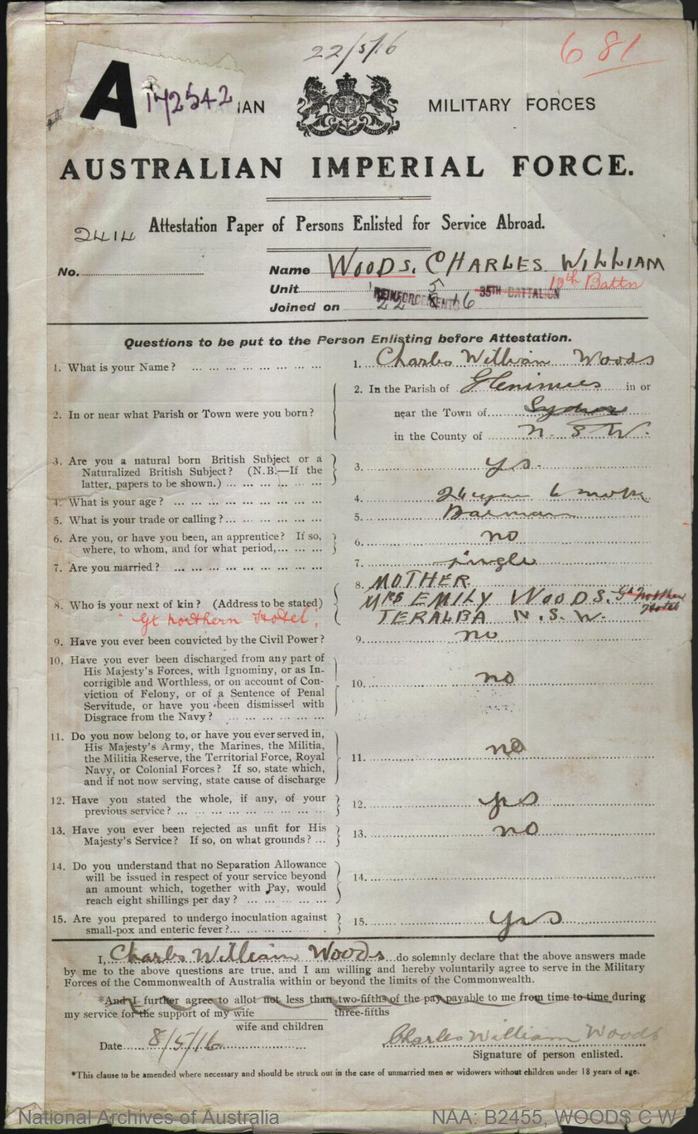 Woods Charles William : SERN 2414 : POB Glen Innes NSW : POE Teralba NSW : NOK M Woods Emily