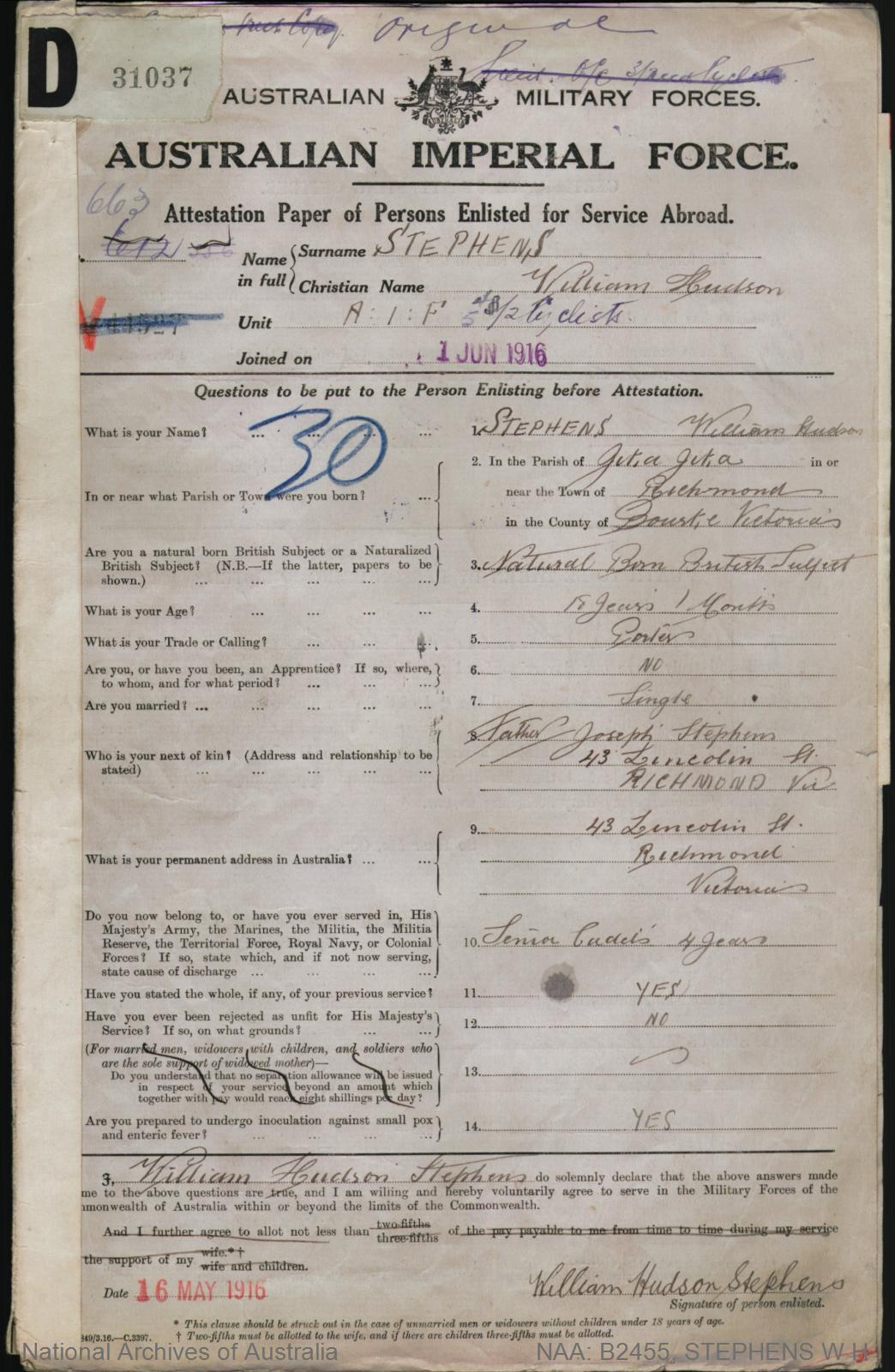 Stephens William Hudson : SERN 633A : POB Melbourne VIC : POE Melbourne VIC : NOK F Stephens Joseph