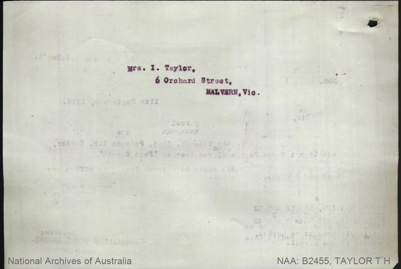 Taylor Thomas Henry : SERN 3643 : POB Hamilton VIC : POE Melbourne VIC : NOK M Taylor Isabella