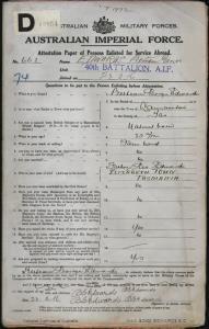 Edwards Bertram George : SERN 663 : POB Launceston TAS : POE Hobart TAS : NOK F Edwards George