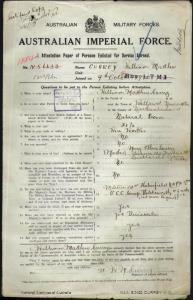 CURREY William Mathew VC : SERN 1584A : POB Wallsend NSW : POE Sydney NSW : NOK M Currey Mary Ellen