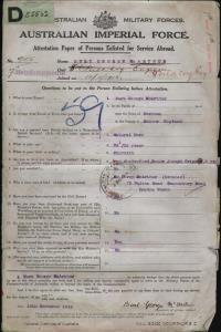 McArthur Burt George : SERN 9105 : POB Sussex England : POE Longreach QLD : NOK B McArthur Percy