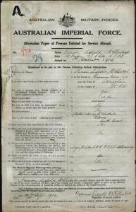 McClintock Norman Leopold : SERN 731 : POB Wingham NSW : POE Sydney NSW : NOK M McClintock Annie