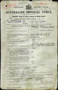McCoy Augustine Stanley : SERN 2736 : POB Norfolk Island NSW : POE Sydney NSW : NOK M McCoy Elizabeth