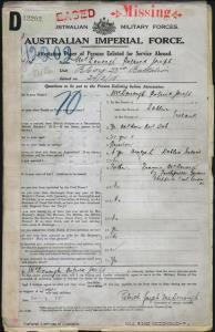 McDonough Patrick Joseph : SERN 414 : POB Dublin Ireland : POE Melbourne VIC : NOK F McDonough Francis