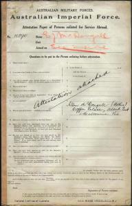 McDougall Ernest James : SERN CAPT : POB Melbourne VIC : POE London England : NOK M McDougall Ellen