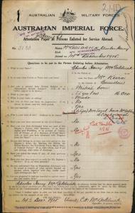 McGoldrick Charles Henry : SERN 5183 : POB Camden NSW : POE Stanwell Park NSW : NOK W McGoldrick Sarah Irene