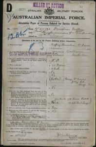 McGuire Stanislaus Geoffrey : SERN 1324 : POB Wallaroo SA : POE Adelaide SA : NOK M McGuire Mary