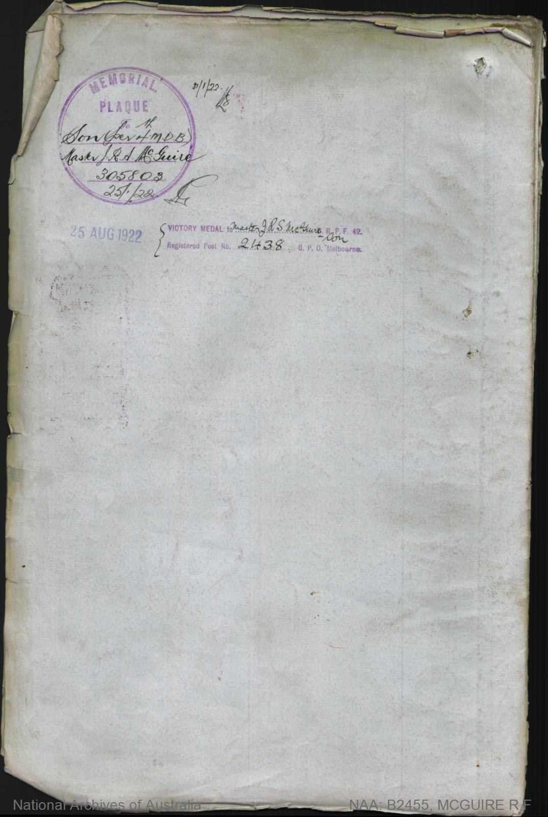 McGuire Reginald Francis : SERN 585 : POB Port Pirie SA : POE Morphettville SA : NOK F McGuire James