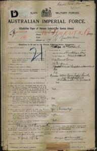 McIlwraith George : SERN 6589 : POB Christchurch New Zealand : POE Sydney NSW : NOK Smith Albert Bertie Leslie