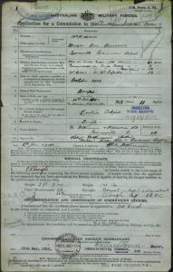 McKimmin Robert Emil Alexander : SERN LIEUT : POB N/A : POE Townsville QLD : NOK F McKimmin Robert