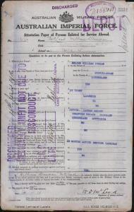 McLeod William Duncan : SERN DEPOT 637 : POB Murwillumbah QLD : POE Brisbane QLD : NOK M McLeod Hannah