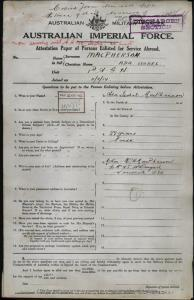 MacPherson Ada Isobel : SERN SISTER : POB Toowoomba QLD : POE Brisbane QLD : NOK M MacPherson H