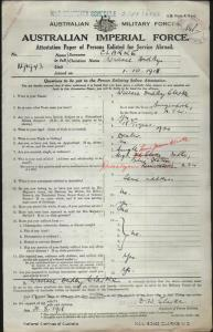 Clarke Wallace Dudley : SERN 91943 : POB Bungendore NSW : POE Wagga Wagga NSW : NOK F Clarke L F