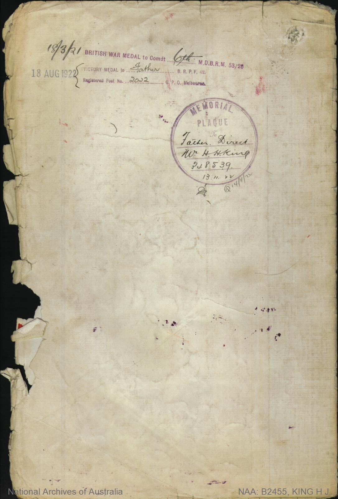 King Henry James : SERN 457 : POB Penguin TAS : POE Pontville TAS : NOK M King