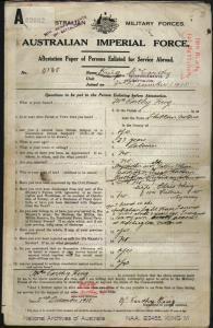 King McCarthy : SERN 5138 : POB Chiltern VIC : POE Kiama NSW : NOK W King Elsie
