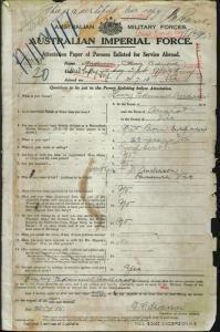 Anderson Henry Edmund : SERN 3758 : POB Ararat VIC : POE Melbourne VIC : NOK Anderson D