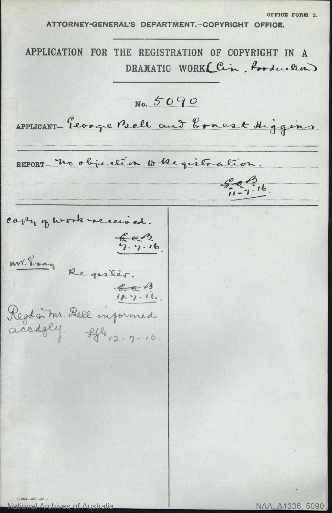 AUTHOR George Bell and Ernest Higgins : ADDRESS Sydney : TITLE OF WORK Australia Prepared Her Part in the World's War : TYPE OF WORK Dramatic Work : APPLICANT George Bell and Ernest Higgins : DATE OF APPLICATION 6 Jul 1916 : DATE COPYRIGHT REGISTERED 12 Jul 1916 : WORK ENCLOSED? Yes