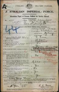 Thomas Sidney George : SERN 5777 : POB Sydney NSW : POE Liverpool NSW : NOK W Thomas Rosa Letitia