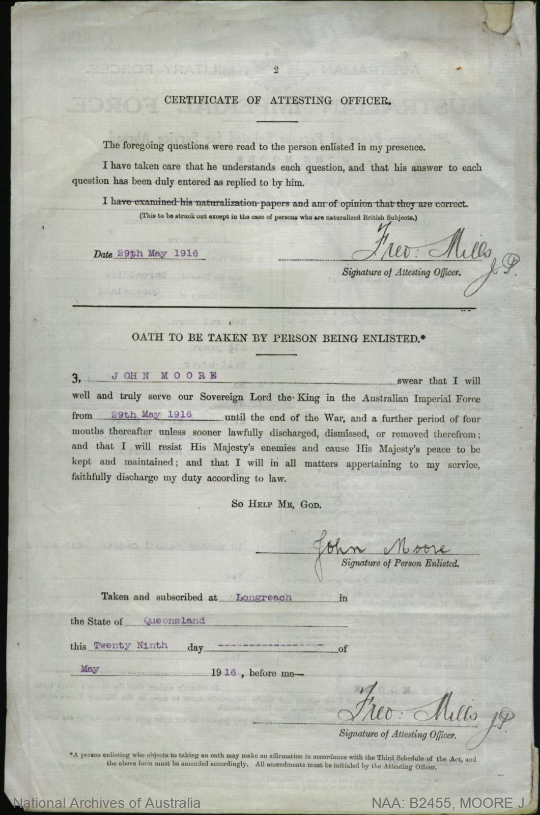 Moore John : SERN 3012 : POB Barcaldine QLD : POE Longreach QLD : NOK F Moore Samuel Ernest