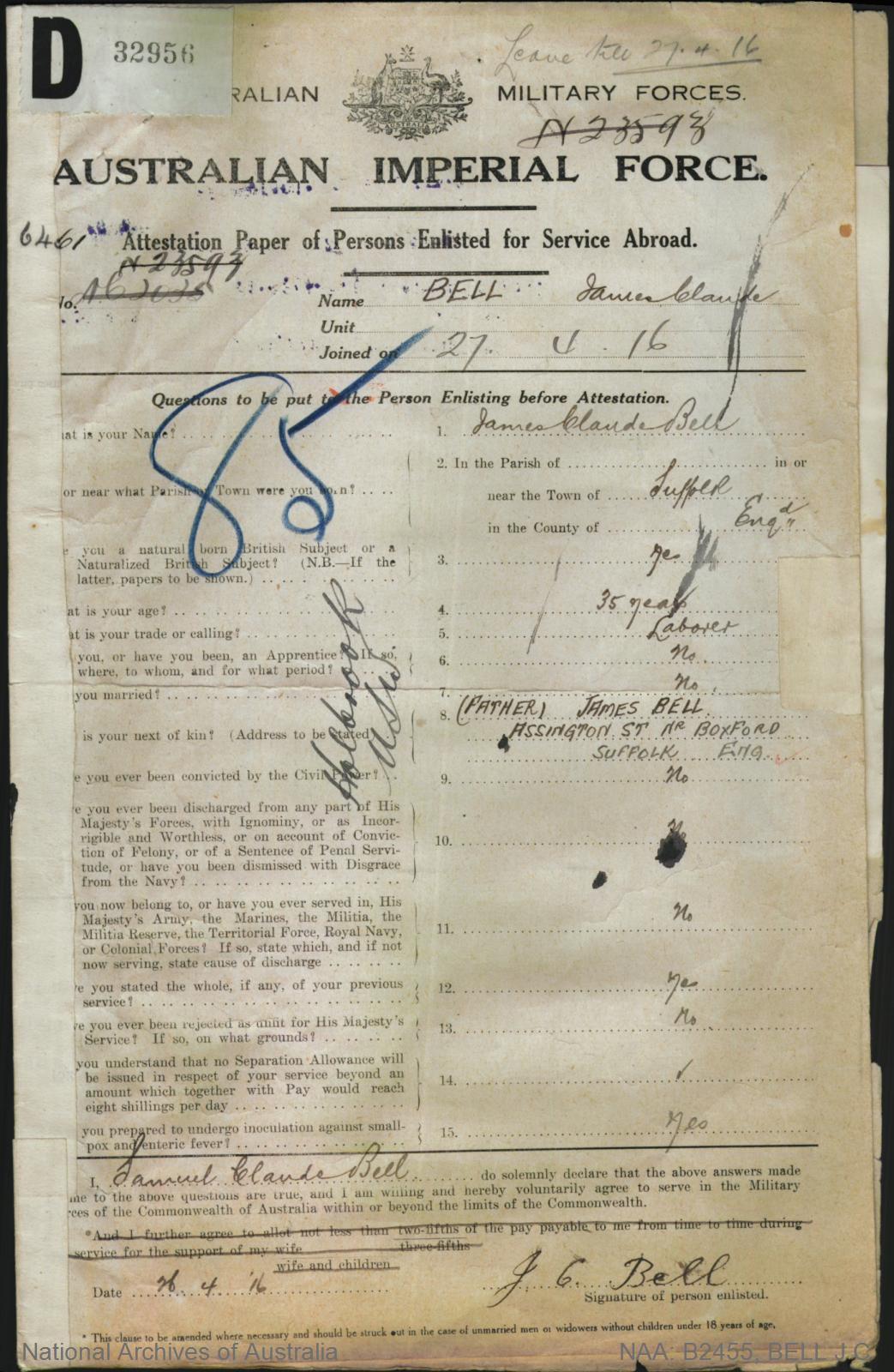 Bell James Claude : SERN 6461 : POB Suffolk England : POE Cootamundra NSW : NOK F Bell James