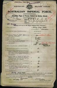 Baker Stanley George : SERN DEPOT 620 : POB Narrandera NSW : POE Liverpool NSW : NOK W Baker Hilda May Ruby