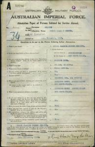 Collins Percy Charles George : SERN 2900 : POB Murwillumbah NSW : POE Brisbane QLD : NOK S Skinner Ada