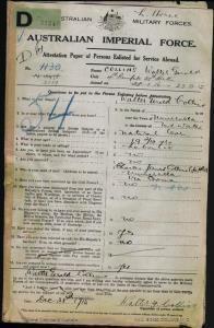 Collins Walter Gerald : SERN 2139 : POB Numeralla NSW : POE  Goulburn NSW : NOK F Collins Charles James