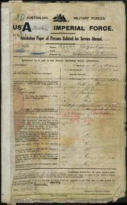 Adams Augustine : SERN 7437 : POB Norfolk Island NSW : POE Sydney NSW : NOK W Adams Alice Violet