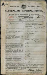 Adams Walter Gregory : SERN 2905 : POB Norfolk Island NSW : POE Liverpool NSW : NOK S Hooker