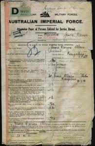 Alcorn James Carson : SERN DEPOT 3346 : POB Kangaloon NSW : POE Lismore NSW : NOK F Alcorn James