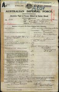 Alexander Cleveland Holmes : SERN 5030 : POB Sydney NSW : POE Nowra NSW : NOK F Alexander William